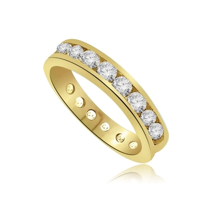dimonds encircle-set weddingband of Gold Vermeil