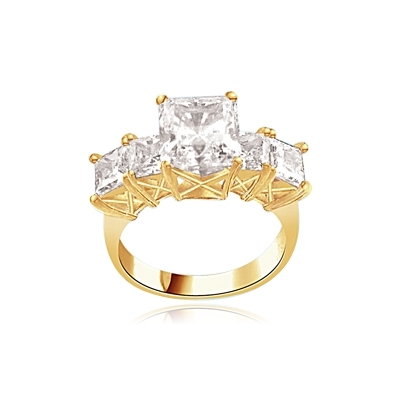 2ct Princess cut Diamond Masterpiece ring in vermeil