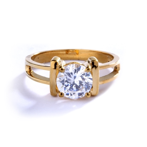 Enticing Lady - 14k Gold Vermeil Ring with a 2.0 Ct. Round Brilliant Diamond Essence Masterpiece in solitary regal splendor.