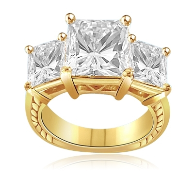 3ct bright Princess cut Diamond ring in vermeil