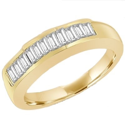 Gold vermeil ring with baguettes in channel-setting