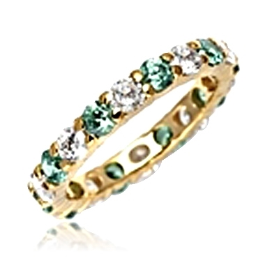 Eternal Flame Popular eternity band with alternating round cut Emerald Essence and Diamond Essence jewels. 2.0 cts.t.w. in 14K Gold Vermeil.