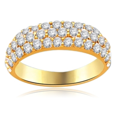 gold vermeil pave set white stones ring