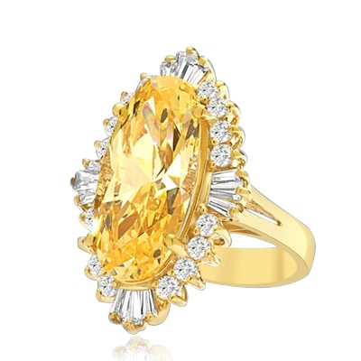 Designer ring with Diamond essence 9.0 cts. Canary stone in the center and encircled by round stones and a large spray of baguettes on all four sides. Wear it with confidence.10.75 cts. T.W. set in 14K Gold Vermeil.