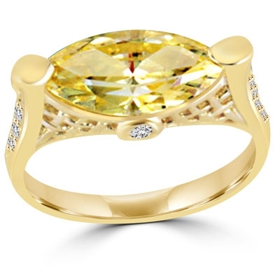 A gorgeous marquise-cut 3.0 cts. Diamond Essence citrine stone set horizontal in 14K Gold Vermeil or Platinum Plated Sterling Silver basket setting.
