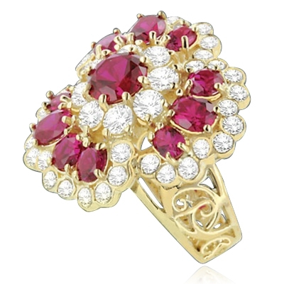 A beautiful ring in floral design. Diamond Essence ruby and round brilliant masterpieces.5.0 cts. T.W. set in 14K Gold Vermeil. A perfect party wear to get compliments.