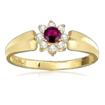 gold vermeil ruby ring circled bye 8 white diamonds