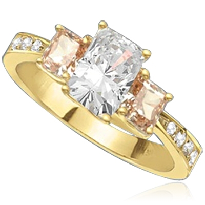 emerald cut stone & champagne baguettes in gold vermeil ring