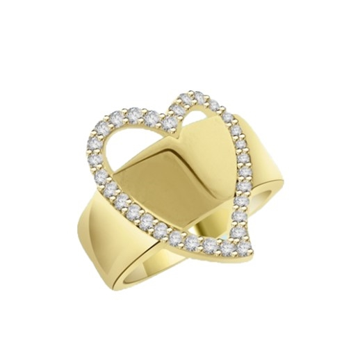 Brilliantly crafted Diamond Essence ring with 31 round stones set in heart a flutter. 1.75 cts.t.w. in Gold Vermeil.