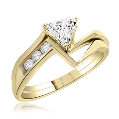 wedding set with trillaint cut ring in Vermeil