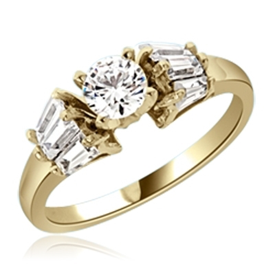 0.5 ct Stylish thin band ring in Gold Vermeil