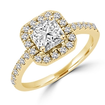 Diamond Essence Designer Ring with 1.25 ct.  Asscher cut center surrounded by round stones. 1.75 ct. tw. in Gold Vermeil.