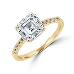 Diamond Essence Designer ring with 2.0 ct. Asscher cut Diamond Essence center with round stones on band, 2.10 ct. tw. in Gold Vermeil.