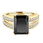 Diamond Essence Designer ring with 5.0 ct. Onyx stone in center with two rows of round stone on each side of the band, 5.50 Cts. T.W. set in 14K Gold Vermeil.