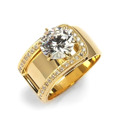 Beauty to Behold. A unique design with 2 Ct. Center and ascending band with round melees. 2.5 Cts. T.W. In 14k Gold Vermeil.