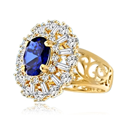 Diamond Essence Ring in 14K Gold vermeil with 2.5 carat Oval Sapphire Essence in the center, surrounded by Diamond Essence round stones and baguettes. Appx. 4.5 cts.T.W. on designer wide band. Just perfect for all occasions.