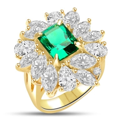 Diamond Essence Ring with Radiant Emerald Cut Emerald, Marquise and Pear cut Stones, 11.0 cts.t.w. - VRD810E