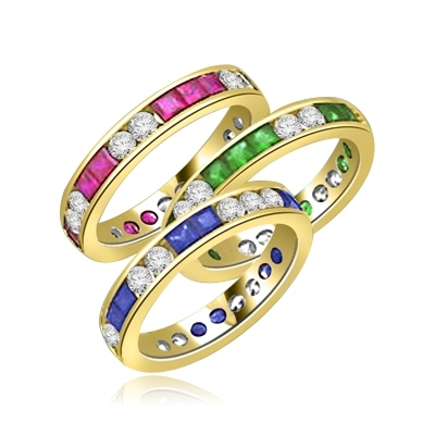 Best selling Eternity Bands with Princess Cut simulated Emeralds and Round Cut Diamond Essence stones all around the band. 1.5 Cts. T.W, in Gold Vermeil.