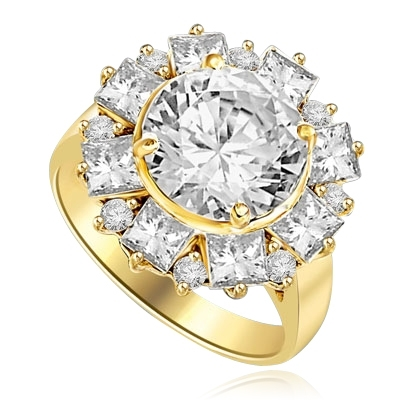 Diamond Essence Designer Ring With Round Brilliant Diamond Essence in center surrounded by alternately set Princess  and melee. 7.25 Cts. T.W. set in 14K Gold Vermeil.