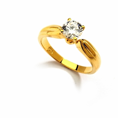 Best Selling 0.75 Ct. Solitaire in an exquisite Wide Band - 4 Prong setting similar to Tiffany Style. In 14k Gold Vermeil.