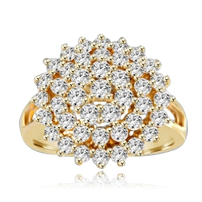 Artistic Flower Cluster Ring that is soaring in poularity. You will sparkle in this sheer brilliance of 4 Cts. T.W. Accents set on Wide Band. In 14K Gold Vermeil.
