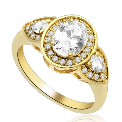 A remarkable combination Ring of 1.5 Ct Oval, 0.25 Ct Trillion and round Accents shows off a sparkle that is surefire hit! 2.5 cts. t.w. In 14k Gold Vermeil.