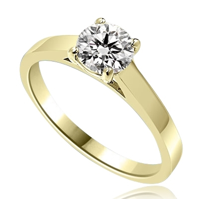 Beautiful Solitaire Ring with 1.0 Ct. T.W. Round Brilliant Diamond Essence, set in 14K Gold Vermeil.