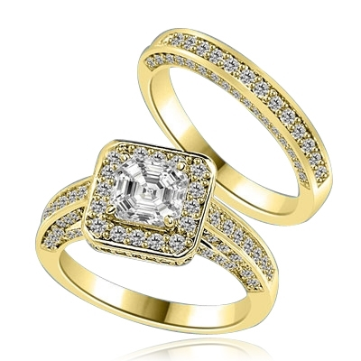 Wedding set with sparkles all around-1.25 Cts. Asscher cut Diamond Essence set in the center, outlined with Melee around and on the band. Curved matching band with sparkling melee, 2.75 Cts.T.W. in Gold Vermeil.