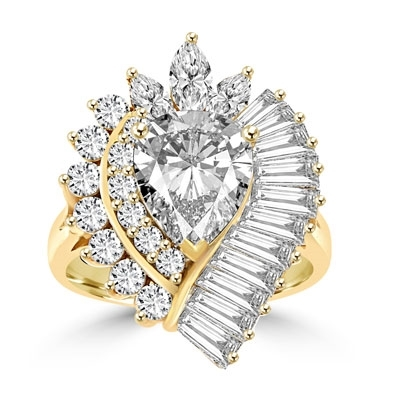 Cocktail Ring with 2.50 cts. Pear cut Diamond Essence in the center,artistically surrounded by Baguettes, Marquise and Round Brilliant stones, 7.0 cts.t.w. set in Gold Plated Sterling Silver.