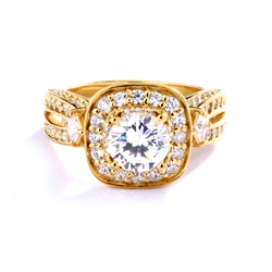 1.50 cts. Round Brilliant Diamond Essence in the center Surrounded by Melee, accompanied by Princess cut Diamond Essence and rows of Sparkling Melee on each side of the band, 3.0 cts. t.w. set in 14K Gold Vermeil.