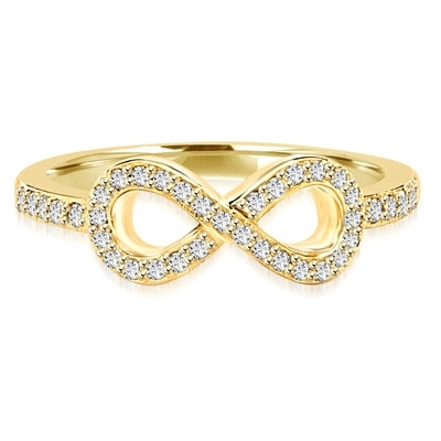 Infinity Ring with 1.60cts.t.w.of Diamond Essence Melee, in Gold Plated Sterling Silver.