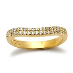 14K Gold Vermeil Band With Two Rows Round Brilliant Diamond Essence Stones Set in Prong Setting, 0.5 Ct.T.W.