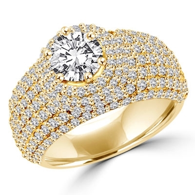 Diamond Essence Designer Cocktail Ring With 1 Ct. Round Brilliant Center Set On Dome Pave Setting Melee, 3 Cts.T.W, In Gold Vermeil.