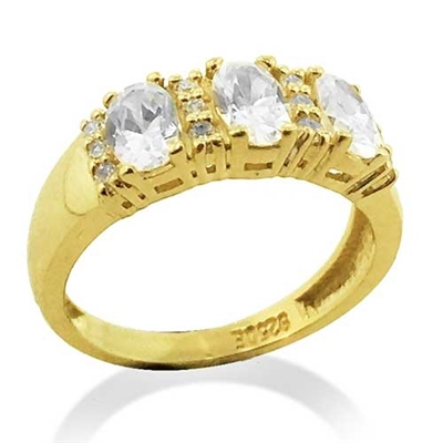 Diamond Essence Ring With Three Oval Stone artistically Separated  By Round Brilliant Melee,1.75 Cts.T.W. In 14K Gold Vermeil.
