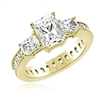 Diamond Essence Ring with Radient Emerald Center Followed by Princess cut Stones And Round Brilliant Melee on the band, 4.50 Cts.T.W. set in 14K Gold Vermeil.