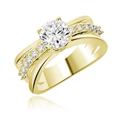 Diamond Essence Designer Trail Blazing Trend Setter Ring With 1.25 Cts. Round Brilliant sets atop on a Band with Round Melee , 1.75 Cts.T.W in 14K Gold Vermeil.