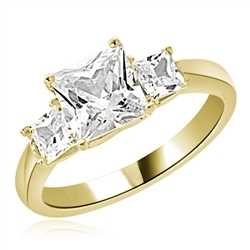Diamond Essence Three Princess Stones Ring with 1.50 Cts. Center and 0.25 Cts. on each side,2 Cts.T.W. set in 14K Gold Vermeil.