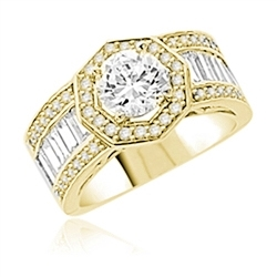 Diamond Essence Designer Ring with 1.50 Cts. Round Brilliant Center, Accompanied By Baguettes and Melee on side, 4 Cts.T.W. In 14K Gold Vermeil.