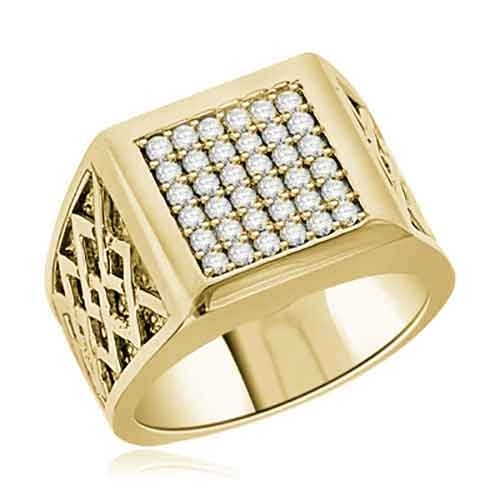 Diamond Essence Ring With 0.40 Cts.T.W. of Diamond Essence Melee set in heavy setting of 14K Gold Vermeil.