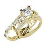 Diamond Essence Designer Wedding set with insertable wedding ring of 0.10 ct. each princess melee. Main band with 2 carat Princess cut center and round melee on the band. Beautiful wedding set with 3.5 Cts.t.w. in Gold Vermeil.