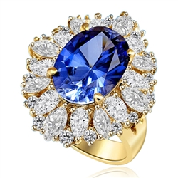 Medley Magic - Artistically set mixture of Marquise cut, Pear cut and Round cut Diamond Essences around 6.0 Cts. Oval cut Sapphire Essence in center. Perfect for Party. 10.0 Cts T.W. set in 14K Gold Vermeil.