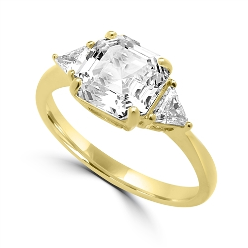 Diamond Essence Ring with 3 Cts. Asscher Cut center Stone and 0.25 Ct Trilliant Stone On Each Side, 3.50 Cts.T.W. In 14K Gold Vermeil.