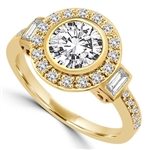 Diamond Essence Designer Ring with 1.50 Cts. Round Brilliant Center Surrounded By Brilliant Melee And Baguettes, 2.0 Cts.T.W. In 14K Gold Vermeil.