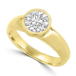 Diamond Essence 1.25 Cts.T.W. Round Brilliant Bezel Set Solitaire Ring in 14K Gold Vermeil.