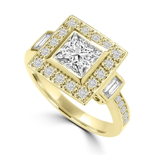 Diamond Essence Designer Ring With 1.50 Cts. Princess stone In Center and Round Melee On Four Sides And Band, 2.25 Cts.T.W. In 14K Gold Vemeil.