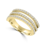 Diamond Essence Ring with Round Brilliant Melee Set In Three Delicate Rows, 1.50 Cts.T.W. In 14K Gold Vermeil.