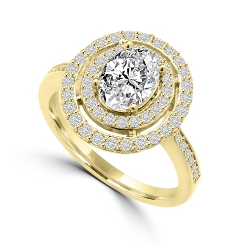 Diamond Essence Designer Ring With 1 Ct. Oval Center in Four Prongs, Surrounded By Two Rows Of Melee, 1.50 Cts. T.w. In 14K Gold Vermeil.