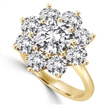 Diamond Essence Floral Design Ring with 2 Cts. Round Brilliant Center and 0.30 Ct. Each In Surrounding, 4.40 Cts.T.W. In 14K Gold Vermeil.