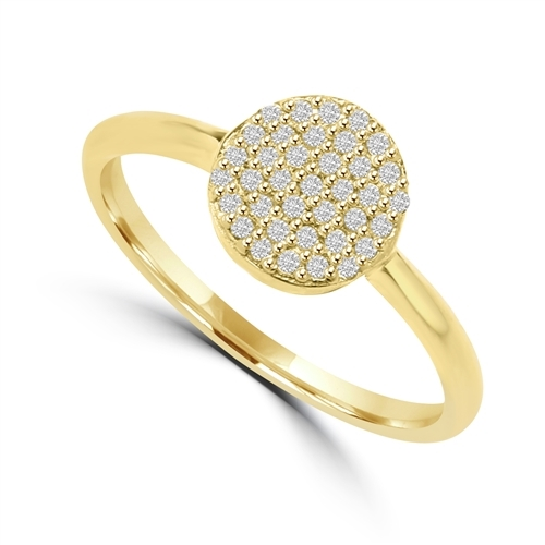 Diamond Essence Ring  with Brilliant Melee In Circular Pave Setting, 0.20 Ct.T.W. In 14K Gold Vermeil.