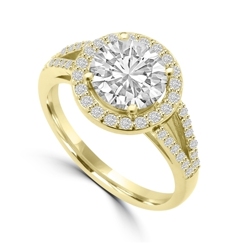 Diamond Essence Halo Setting Designer Ring with 2 Cts. Round Brilliant Center and Melee Around It and On The Band, 2.50 Cts.T.W. In 14K Gold Vermeil.